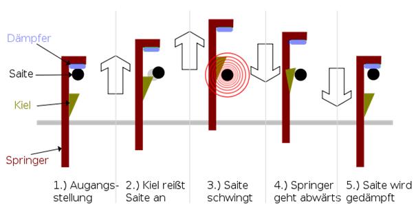 Geschichte des Klaviers Das Cembalo eine Technische zeichnung