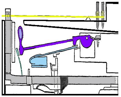 Geschichte des Klaviers. Technische Zeichnung von der Funktionsweise eines Pianoforte.